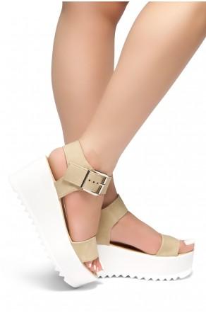 HerStyle Carita- Open Toe Ankle Strap Platform Wedge (Beige)