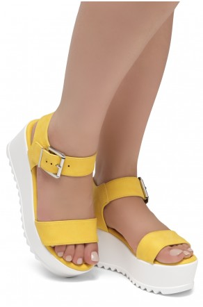 HerStyle Carita- Open Toe Ankle Strap Platform Wedge (Yellow)