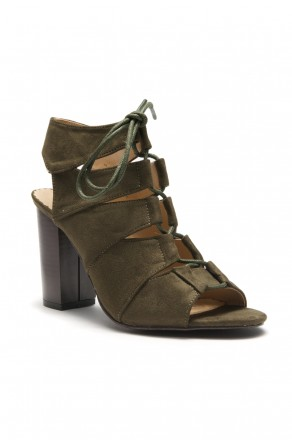 HerStyle Carnibbi open toe, chunky heel, a gladiator inspired strappy with front lace-up (Olive)