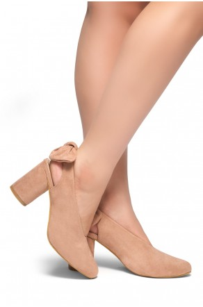 HerStyle CARTIERA-Sling back with a bow detail, Chunky heel (Mauve)