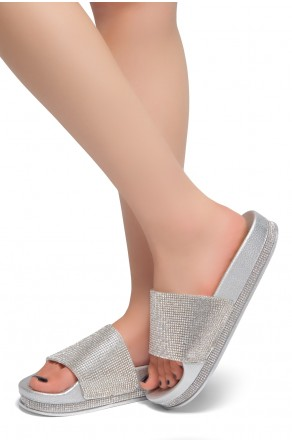 HerStyle Caterina-Rhinestone Details Open Toe Slide Sandal (Silver)