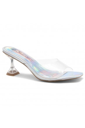 Shoe Land CELEBRATE Women's Clear Peep Toe Slip-on Block Heels Sandals(ClearSilver)