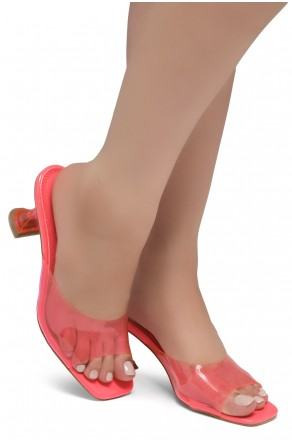 Shoe Land CELEBRATE Women's Clear Peep Toe Slip-on Block Heels Sandals(Pink)