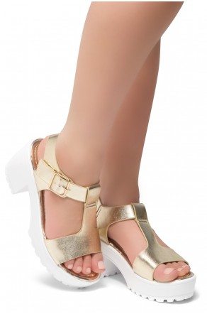 Herstyle Certain-Women's Platform Sandal with Low Heel T-Strap Open Toe (Light.Gold)