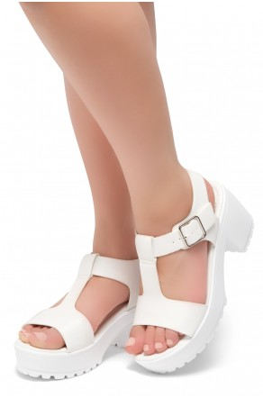 Herstyle Certain-Women's Platform Sandal with Low Heel T-Strap Open Toe (White)
