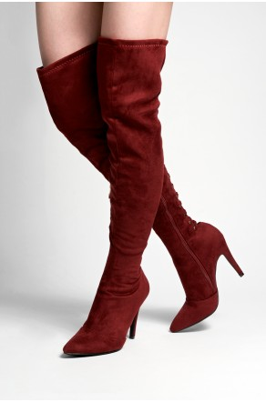 HerStyle Cessi stiletto heel, thigh high, nail head details - Burgundy
