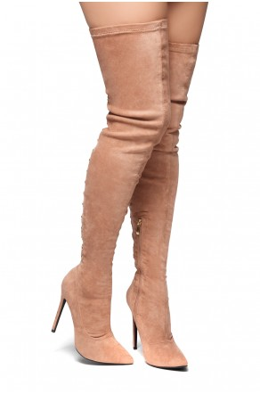 HerStyle Cessi-Stiletto heel, Thigh high, nail head detail (Mauve)