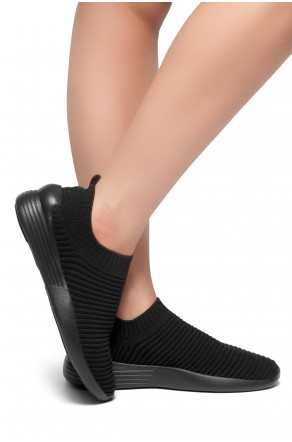 HerStyle Charlie--Knit Fitted Sock Sneakers (Black)