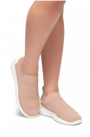 HerStyle Charlie--Knit Fitted Sock Sneakers (Mauve)