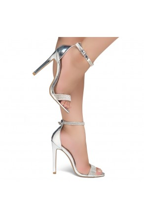 Shoe Land Charming2- Ankle Strap With Blink Blink Jeweled Embellishment Open Toe Stiletto Heel (1906/Silver)