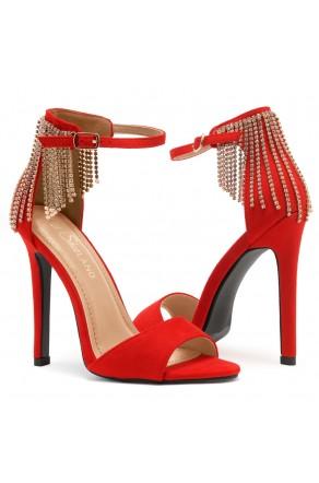 Shoe Land Charming- Rhinestone Tassel Ankle Strap Open Toe Stiletto Heel (1836/RED)