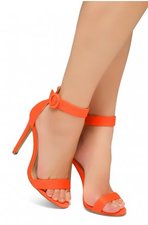 Shoe Land Charming- Ankle Strap Rounded Buckle Open Toe Stiletto Heel (OrangeNeon)