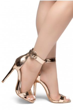 HerStyle Charming- Ankle Strap Rounded Buckle Open Toe Stiletto Heel (RoseGold)