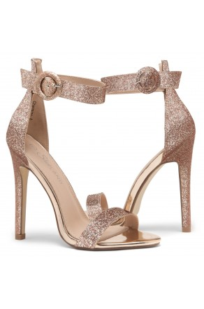 Shoe Land Charming- Ankle Strap Rounded Buckle Open Toe Stiletto Heel (RosegoldGlitter)