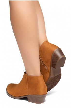 HerStyle Chatter- Low Stacked Heel Almond Toe Booties (Cognac)
