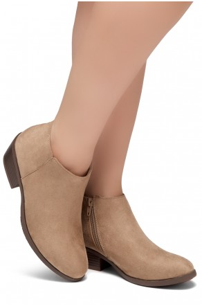 HerStyle Chatter- Low Stacked Heel Almond Toe Booties (Khaki)