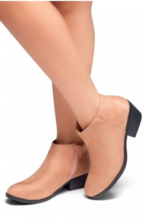 HerStyle Chatter- Low Stacked Heel Almond Toe Booties (Mauve)