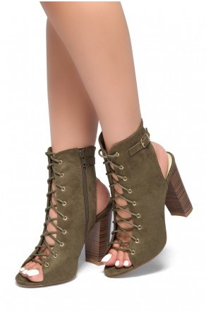 HerStyle Choice-Peep toe, stacked heel, front lace-up (Olive)