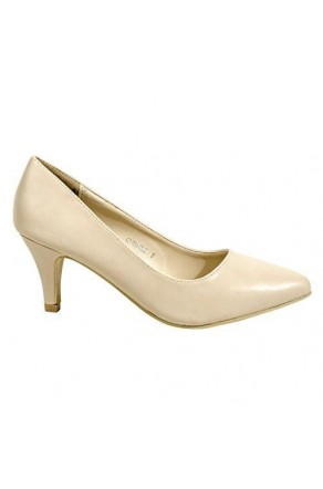 Women's Beige Manmade Cirrcle 3-inch Classic Neutral Pump