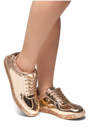 HerStyle City Glitz-Glitter sneaker with lace (RoseGold)