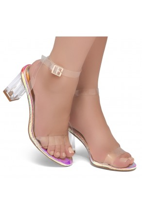 Shoe Land Cllaary-L Perspex heel, ankle strap with an adjustable buckle (ClearRainbowsnk)