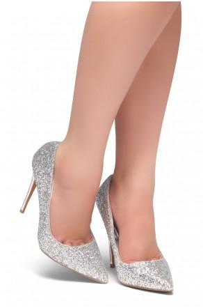 HerStyle COCKTAIL BLING- Glitter Details, Pointed Toe, Stiletto Heel (Silver Glitter)