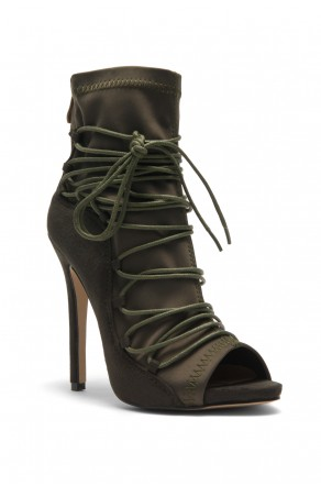 Women's Olive Coreneera Lace up Detail Peep toe Stilettos in Faux Suede, Sock Fit