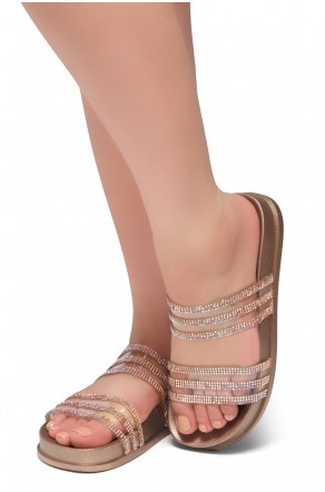 HerStyle Corey-Open Toe Open Back Jewelled Embellishment Slide Sandal (RoseGold)