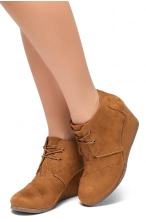 HerStyle Corlina-Round toe, wedge heel booties (Cognac)