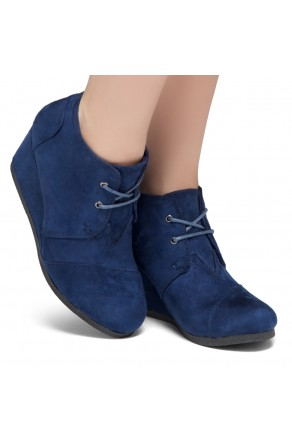 HerStyle Corlina-Round toe, wedge heel booties (Navy)