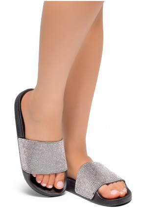 HerStyle Cosmic Open Toe Jewelled Embellishment Slide Sandal (Black)