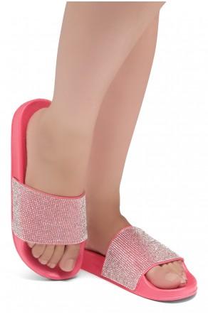 Shoe Land Cosmic Open Toe Jewelled Embellishment Slide Sandal (Fuchsia)