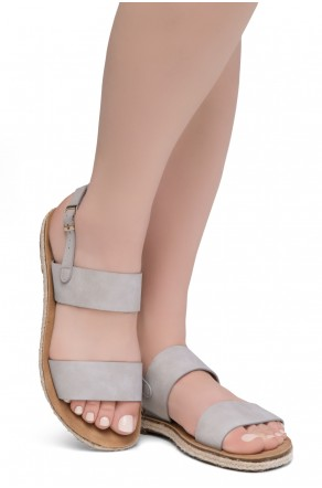 Shoe Land CRALESSA Women's Open Toe Ankle Strap Platform Wedge Sandals (LightGrey)