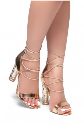 HerStyle Crossing Glam-Perspex heel, front lace-up (Rose Gold)