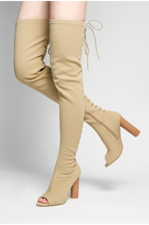 HerStyle Dainna peep toe, long sock boot with lace up back fastenind, thigh high, chunky heel (Beige)