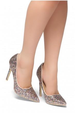 HerStyle Daisie- Glitter Details, Pointed Toe, Stiletto Heel (Pink Glitter)