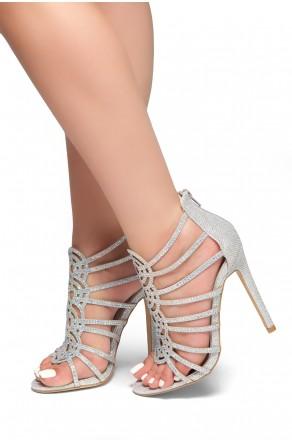 HerStyle Dazzled Night -Stiletto heel, jeweled embellishments Sandals(Silver)