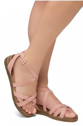 Shoe Land Dessi-Women's Fashion Strap Sandals Toe Loop with Buckle Low Wedge Platform Heel Comfortable Shoes (Mauve)