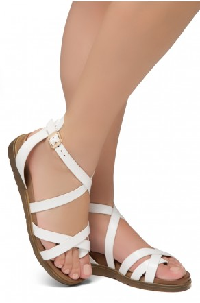 Shoe Land SL-Dessi-Women's Fashion Strap Sandals Toe Loop with Buckle Low Wedge Platform Heel Comfortable Shoes (White)