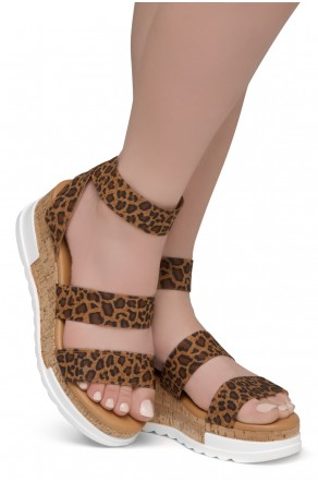 ShoeLand DIRASSA-Women's Open Toe Ankle Strap Platform Wedge Sandals(1896LeopardELA)