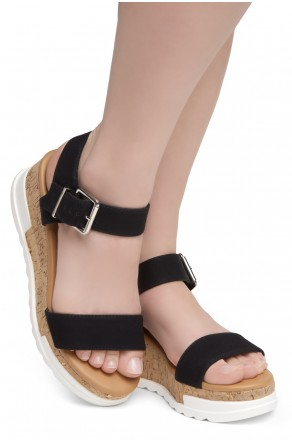 ShoeLand DIRASSA-Women's Open Toe Ankle Strap Platform Wedge Sandals(2010 Black)