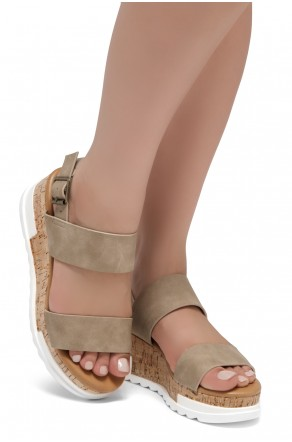 ShoeLand DIRASSA-Women's Open Toe Ankle Strap Platform Wedge Sandals(Natural)