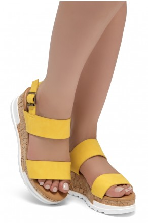 ShoeLand DIRASSA-Women's Open Toe Ankle Strap Platform Wedge Sandals(Yellow)