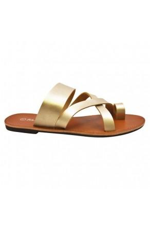 Women's Gold Donnoddi Toe Ring Sandal with Unique Crisscross Straps