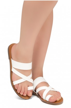 Women's White Donnoddi Toe Ring Sandal with Unique Crisscross Straps