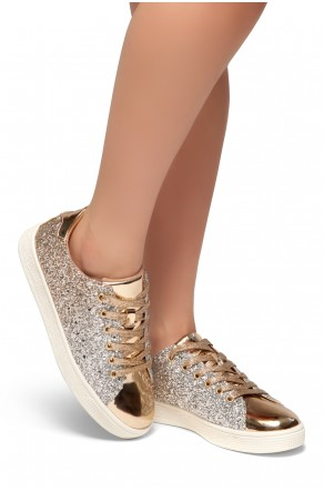 HerStyle DOWN FOR YOU- Flat Heel, Glitter sneaker with lace upper(RoseGold)