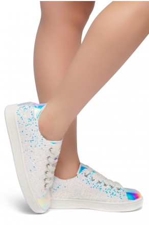 HerStyle DOWN FOR YOU- Flat Heel, Glitter sneaker with lace upper(White)