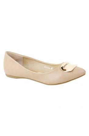 Women's Beige Manmade Duskee Neutral Ballet Flat with Gold-Tone Plaque