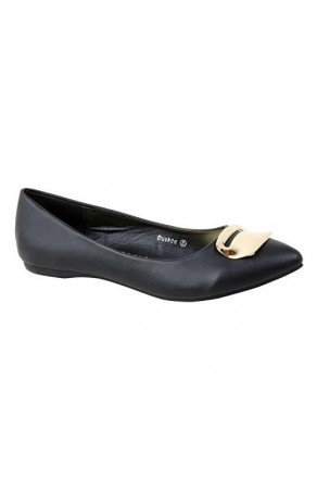 Women's Black Manmade Duskee Neutral Ballet Flat with Gold-Tone Plaque