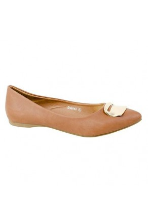 Women's Cognac Manmade Duskee Neutral Ballet Flat with Gold-Tone Plaque